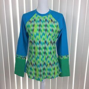 PRANA Blue & Green Long Sleeve Active Top L